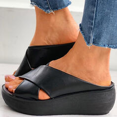 Women's PU Chunky Heel Sandals Peep Toe With Solid Color Crisscross shoes