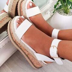 Dla kobiet PU Obcas Koturnowy Sandały Platforma Koturny Otwarty Nosek Buta Z Klamra Tkanina Wypalana obuwie