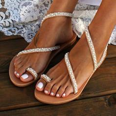 Dla kobiet PU Płaski Obcas Sandały Plaskie Otwarty Nosek Buta Z Imitacja Pereł obuwie