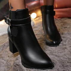 Dla kobiet PU Obcas Slupek Kozaki Z Klamra Jednolity kolor obuwie