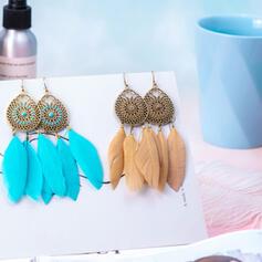 Zabytkowe Boho Elegancki Artystyczny Projekt Feather Stop Pióro Z Pióro Dla kobiet Kolczyki