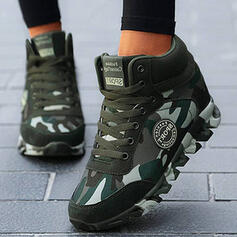 Dla kobiet Prawdziwa Skóra Płótno Obcas Koturnowy Botki Niskie góry Round Toe Z Sznurowanie Kolor splotu obuwie