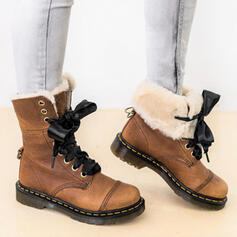Women's PU Low Heel Mid-Calf Boots Snow Boots Round Toe Winter Boots With Lace-up Faux-Fur shoes