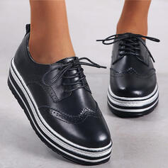 Dla kobiet Skóra ekologiczna Płaski Obcas Plaskie Platforma Round Toe Z Sznurowanie Naszywka obuwie