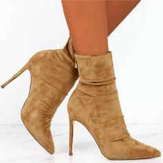 Dla kobiet Zamsz Obcas Stiletto Kozaki Z Zamek błyskawiczny Jednolity kolor obuwie