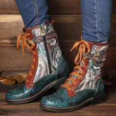 Dla kobiet PU Obcas Slupek Martin Buty Round Toe Z Zamek błyskawiczny Sznurowanie Kolor splotu Nadruk Kwiatowy obuwie