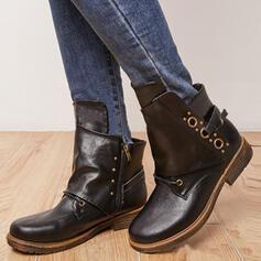 Dla kobiet PU Obcas Slupek Kozaki Botki Kozaki do polowy lydki Round Toe Z Sznurowanie Jednolity kolor obuwie