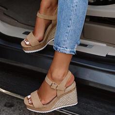 Dla kobiet PU Obcas Koturnowy Sandały Koturny Otwarty Nosek Buta Z Klamra obuwie