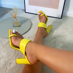 Women's Leatherette Chunky Heel Sandals Pumps Peep Toe Slippers Toe Ring Square Toe With Solid Color shoes