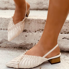 Women's Leatherette Chunky Heel Sandals Pumps Slingbacks Pointed Toe With Ruffles Ruched Elastic Band Solid Color shoes