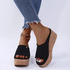 Dla kobiet PU Obcas Koturnowy Sandały Koturny Otwarty Nosek Buta Kapcie Z Jednolity kolor obuwie