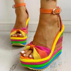 Dla kobiet Material Obcas Koturnowy Sandały Otwarty Nosek Buta Z Klamra Kolor splotu obuwie