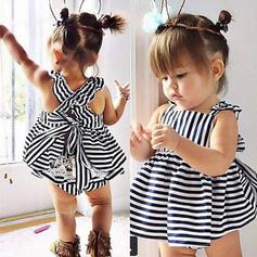 2-pieces Baby Girl Bowknot Striped Lace Cotton Set