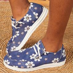 Dla kobiet Płótno Płaski Obcas Plaskie Niskie góry Round Toe Niesznurowane mokasyny Z Sznurowanie Kwiaty Wydrukować obuwie