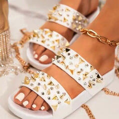 Women's PU Flat Heel Sandals Flats Peep Toe Slippers With Rivet Solid Color shoes