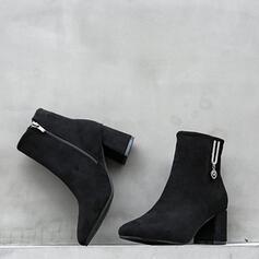 Dla kobiet Zamsz Obcas Stożek Botki Spiczasty palec u nogi Z Zamek błyskawiczny Jednolity kolor obuwie
