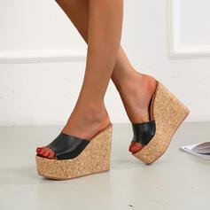 Dla kobiet Mikrofibra Obcas Koturnowy Sandały Koturny Otwarty Nosek Buta Kapcie Obcasy Z Jednolity kolor obuwie