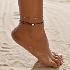 Prosty Stop Sznur skórzany Z Serce Biżuteria plażowa Obrączki (Zestaw 2)