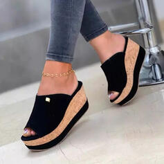 Dla kobiet Dżinsowa Obcas Koturnowy Sandały Koturny Otwarty Nosek Buta Kapcie Z Jednolity kolor obuwie