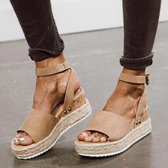 Dla kobiet Zamsz Obcas Koturnowy Sandały Platforma Koturny Otwarty Nosek Buta Bez Pięty Z Klamra Jednolity kolor obuwie