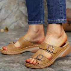 Dla kobiet Skóra ekologiczna Obcas Koturnowy Sandały Otwarty Nosek Buta Kapcie Z Klamra Tkanina Wypalana obuwie