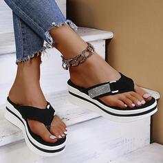 Dla kobiet Zamsz Płaski Obcas Sandały Japonki Kapcie Z Stras/ Krysztal Górski Klamra obuwie
