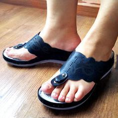 Dla kobiet Skóra ekologiczna Obcas Koturnowy Sandały Japonki Kapcie Z Tkanina Wypalana obuwie