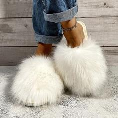 Women's Fake fur Flat Heel Sandals Round Toe With Faux-Fur shoes