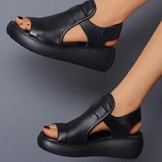 Dla kobiet PU Obcas Koturnowy Sandały Platforma Koturny Otwarty Nosek Buta Bez Pięty Niskie góry Z Rzep Jednolity kolor obuwie