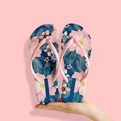 Dla kobiet PVC Płaski Obcas Sandały Japonki Kapcie Z Nadruk Kwiatowy obuwie