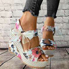 Dla kobiet Material Obcas Koturnowy Sandały Platforma Koturny Otwarty Nosek Buta Bez Pięty Obcasy Z Kokarda Koronka Nadruk Kwiatowy obuwie