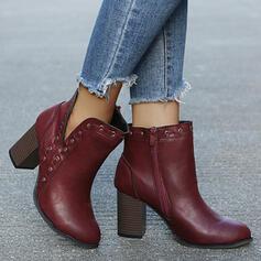 Dla kobiet PU Obcas Slupek Botki Niskie góry Obcasy Spiczasty palec u nogi Z Zamek błyskawiczny Jednolity kolor obuwie