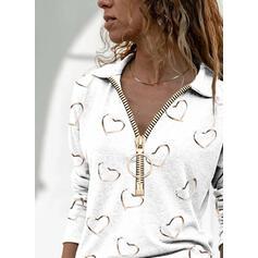 Print Heart Lapel Long Sleeves Casual Blouses