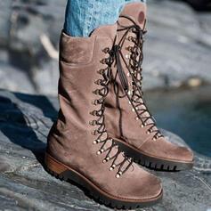 Dla kobiet PU Obcas Koturnowy Kozaki do polowy lydki Martin Buty Round Toe Z Sznurowanie Jednolity kolor obuwie
