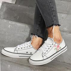 Dla kobiet Material Płaski Obcas Plaskie Round Toe Tenisówki Z Sznurowanie obuwie