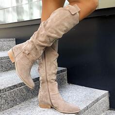 Dla kobiet Zamsz Obcas Slupek Buty zimowe Z Zamek błyskawiczny Przycisk Jednolity kolor obuwie