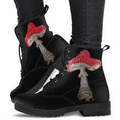 Dla kobiet PU Obcas Slupek Botki Niskie góry Round Toe Z Sznurowanie obuwie