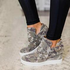 Dla kobiet Płótno Płaski Obcas Plaskie Kozaki Botki Z Klamra obuwie