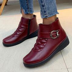 Dla kobiet PU Płaski Obcas Botki Buty zimowe Round Toe Z Klamra obuwie