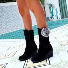 Dla kobiet Zamsz Obcas Koturnowy Kozaki do polowy lydki Round Toe Z Zamek błyskawiczny Frędzle Jednolity kolor obuwie