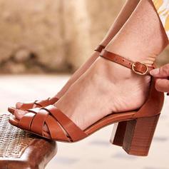 Dla kobiet PU Obcas Slupek Sandały Z Klamra obuwie