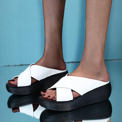 Women's PU Wedge Heel Sandals Platform Wedges Peep Toe Slippers Heels With Hollow-out Bandage shoes