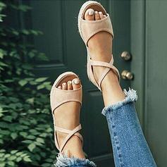 Dla kobiet PU Płaski Obcas Sandały Plaskie Z Sznurowanie obuwie