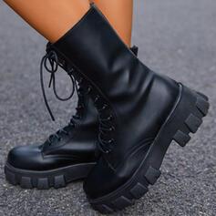 Dla kobiet PU Obcas Slupek Platforma Kozaki Kozaki do polowy lydki Martin Buty Round Toe Z Sznurowanie Jednolity kolor obuwie