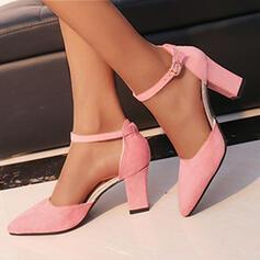 Dla kobiet Zamsz Obcas Slupek Czólenka Obcasy Z Klamra Jednolity kolor obuwie