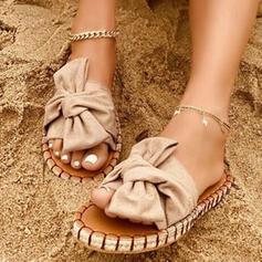 Dla kobiet Material Płaski Obcas Sandały Kapcie Z Kokarda Jednolity kolor obuwie