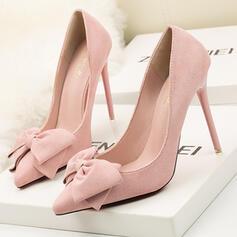 Dla kobiet Zamsz Obcas Stiletto Czólenka Obcasy Z Kokarda Jednolity kolor obuwie
