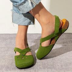 Dla kobiet Zamsz Skóra ekologiczna Płaski Obcas Plaskie Niskie góry Niesznurowane mokasyny Z Tkanina Wypalana obuwie