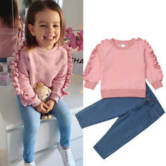 2-pieces Toddler Girl Ruffle Solid Denim Cotton Set