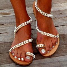 Dla kobiet PVC Płaski Obcas Sandały Plaskie Pierścień na palec Z Stras/ Krysztal Górski Imitacja Pereł Tkanina Wypalana obuwie